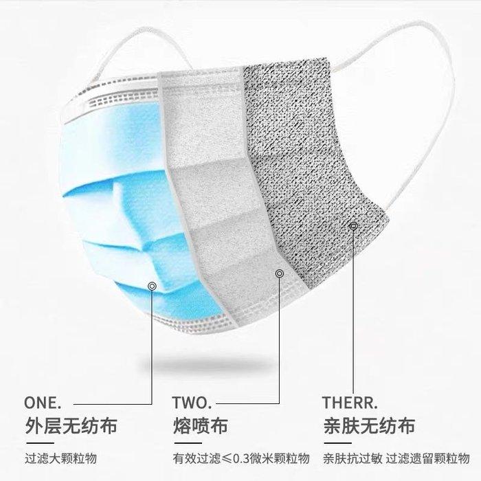 50只 口罩一次性防護三層現貨防飛沫防塵透氣成人熔噴無紡布兒童口鼻罩