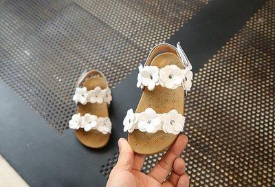 【溜。溜。選物】兒童涼鞋 小花軟底黏式涼鞋 沙灘鞋 休閒鞋 童鞋