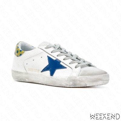 【WEEKEND】 GOLDEN GOOSE GGDB Super Star 點點 皮革 休閒鞋 白+藍色