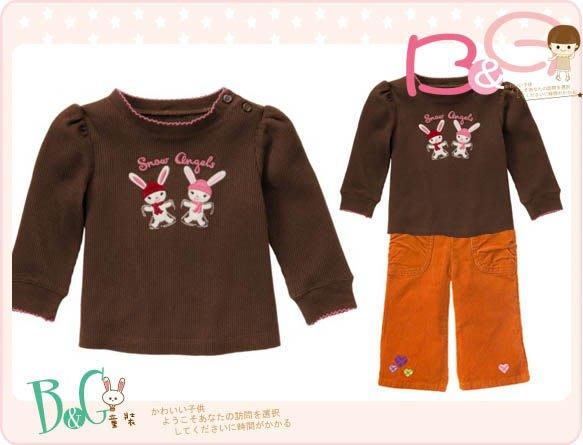 【B& G童裝】正品美國進口GYMBOREE可愛兔子圖樣咖啡色長袖上衣5yrs