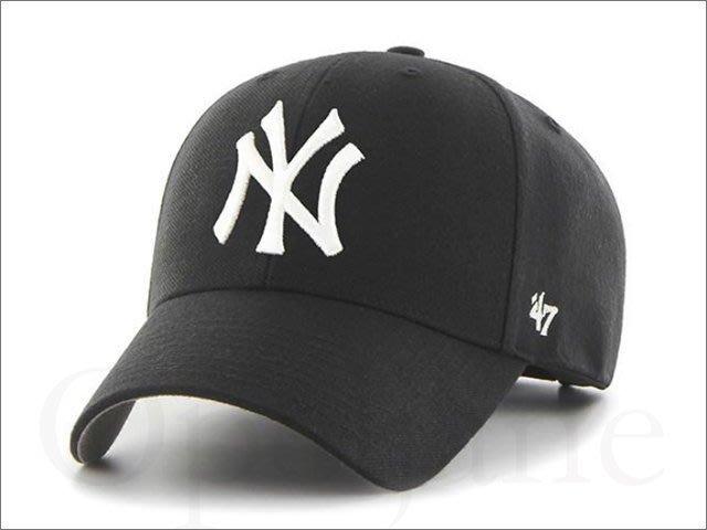 NEW YORK YANKEES 47 BRAND MVP 美國職棒洋基隊黑色棒球帽 鴨舌帽明星藝人最愛愛COACH包包