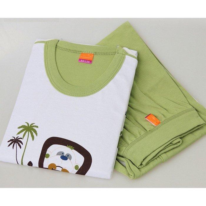 100%純棉 男童小熊車子椰子樹圓領套裝 冷氣房 冷氣衫 睡衣 居家服 110-170