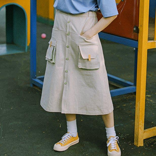 SEYES {日本空運} 自然風工裝設計感立體口袋排扣工作裙