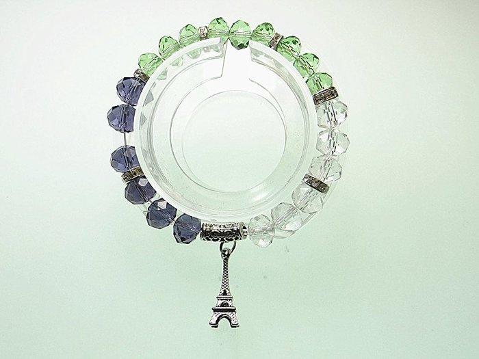 開運手鍊 日韓手環 項鍊~ 紫水晶 綠水晶 白水晶 亮鑽 巴黎鐵塔手鍊 招財 愛情手鍊