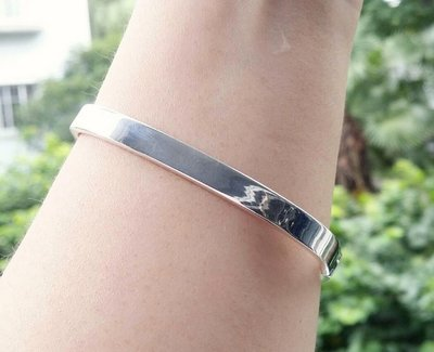 嗨,寶貝銀飾珠寶* 925純銀飾品☆999純銀 混搭風 極簡風 個性 方形光面實心 開口純銀手環 手鐲