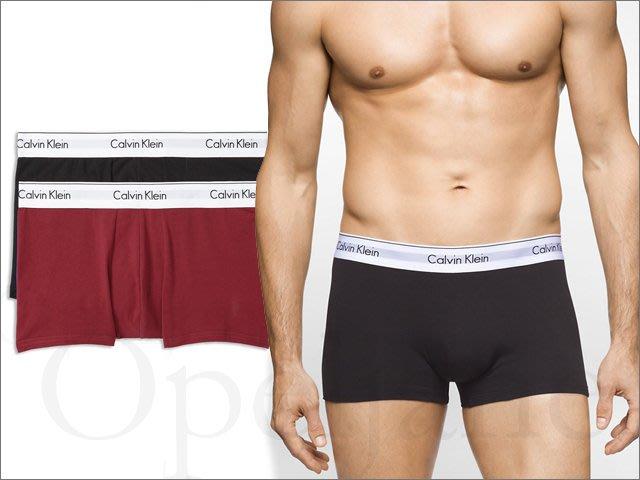 真品 Calvin Klein CK 卡文克萊黑色棗紅色 兩件一組莫代爾棉質平口褲短版 四角褲 XL號 愛Coach包包