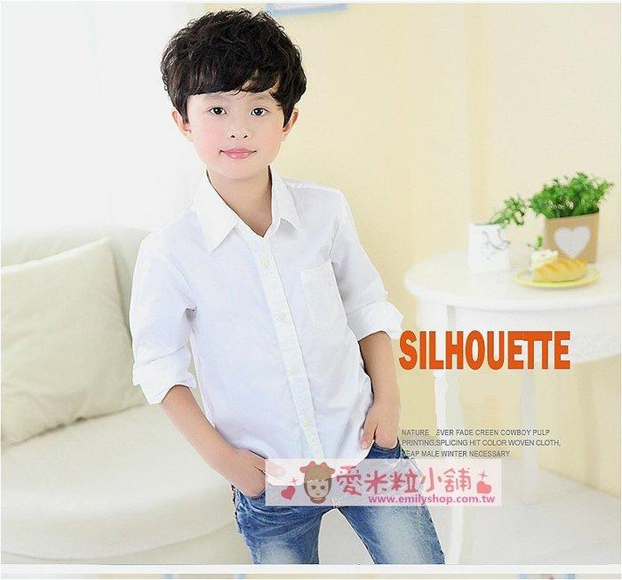 兒童長袖襯衫 男童白色口袋襯衫 男童西裝襯衫 ☆愛米粒☆