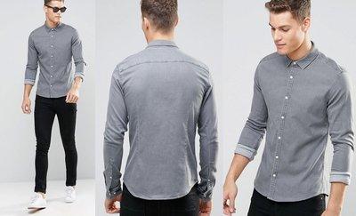◎美國代買◎ASOS反摺袖口灰刷色彈性棉衣偏合身灰色牛仔短袖襯衫上衣~歐美街風~大尺碼