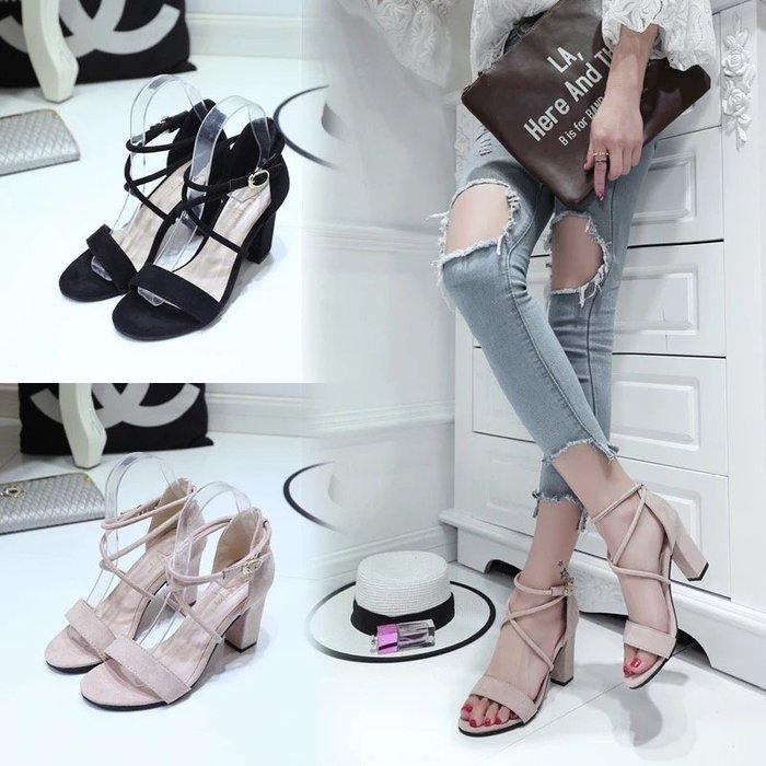 【NAINAIS】韓版 韓妞穿搭 羅馬交叉綁帶露趾涼鞋粗跟高跟鞋 3色 35-39