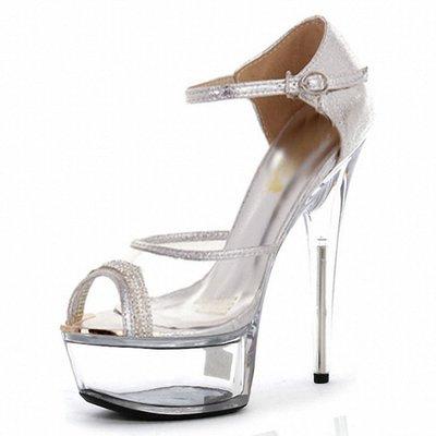 34-46大尺碼歐美性感透明水晶鞋魚口包跟細跟超高跟涼鞋CD變裝45偽娘反串44夜店43新娘40婚鞋42女鞋41妖精館