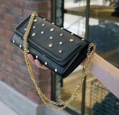 Alexaner McQueen Chain Wallet Clutch 卯釘鍊帶肩背手拿包 黑