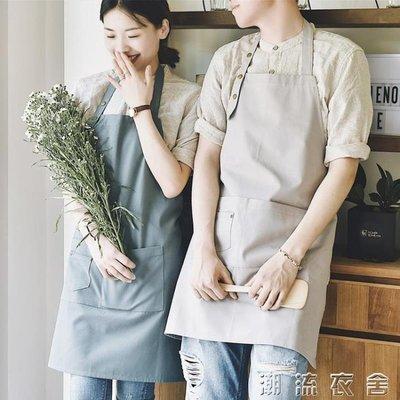 全棉圍裙防水高檔可愛廚房奶茶咖啡店餐廳美甲韓版時尚工作服男女