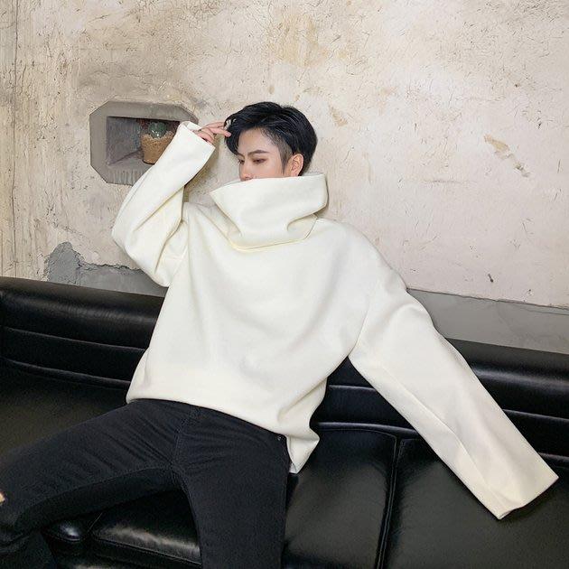 FINDSENSE 2019 秋冬上新 G19  黑色白色廓形簡約寬鬆呢料外套男裝百搭休閒外套可拆卸圍脖