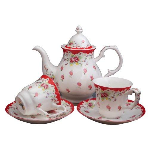 現貨/ 英倫玫瑰🌹一壺兩杯組 花茶杯組 午茶組 咖啡杯組 骨瓷杯 禮盒 下午茶 骨瓷茶壺組 壺杯組 骨瓷杯組