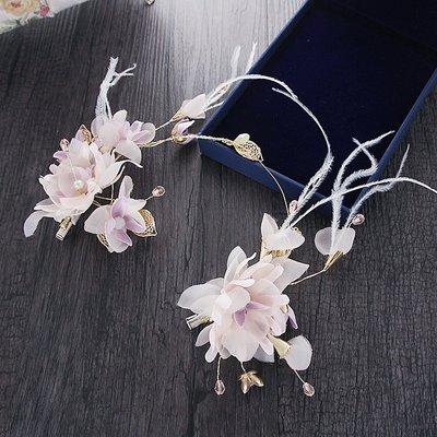 新娘結婚絹花羽毛頭花發飾森女花朵發夾頭飾婚紗晚禮服配飾品兒童