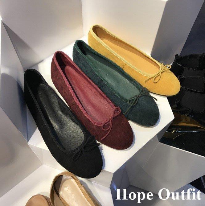 正韓東大門代購 絨面蝴蝶結芭蕾舞鞋 娃娃鞋 芭蕾舞鞋 秋冬娃娃鞋 平底包鞋 平底娃娃鞋