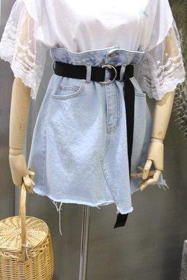 ♥出清 可純超取♥ 高腰毛邊造型丹寧短裙(藍色均碼現貨一) S-L都可穿 正韓