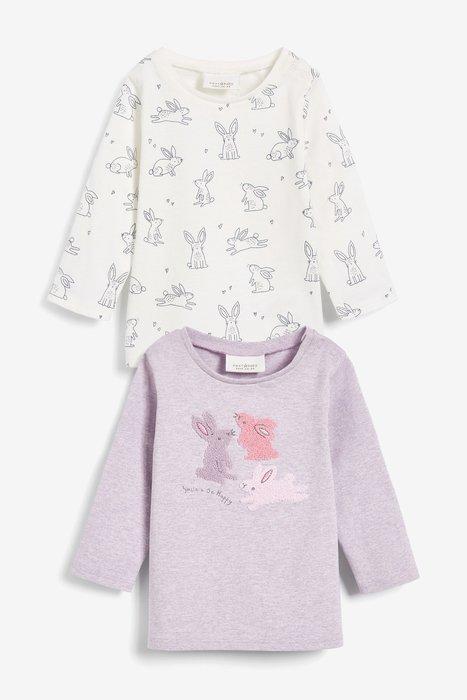 【Kids Shop 流行童裝】英國Next女寶寶淡紫色/米色小兔長袖T恤二件組~代購
