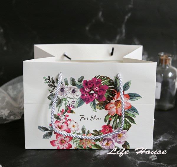 手提袋 花朵紙袋 FOR YOU提袋 蛋黃酥 月餅 婚禮回贈手提袋 禮品手提袋 生日禮物手提袋 紙袋 伴手禮紙袋