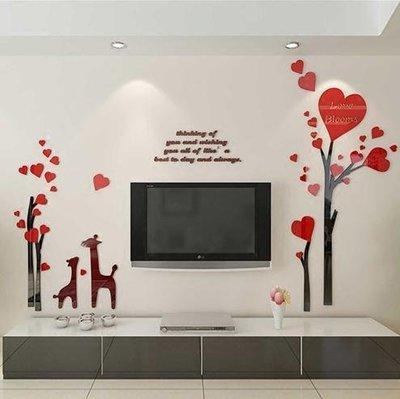 小鹿樹 立體壁貼 壁貼 壓克力壁貼 壓克力立體壁貼 電視牆 玄關 走廊 沙發牆 書法風 水墨畫 水墨風 中國風