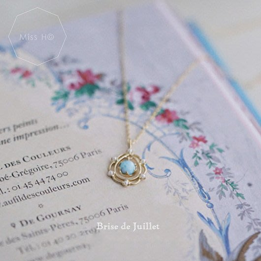 BD02-法式手工輕珠寶-愛像大海系列。聖潔珍珠花環天然海紋石項鍊 925純銀鍍金  agete風格