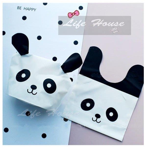 黑白熊貓兔耳朵包裝袋 10入 烘焙包裝袋 兔耳朵糖果袋 熊貓包裝袋   餅乾袋 生日派對包裝袋 兒童禮品包裝袋