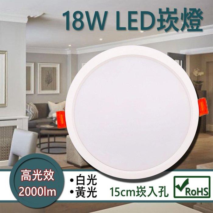 LED崁燈 高光效 18W低耗電 高流明2000lm 窄邊設計 15公分崁入孔 LED崁燈│JOYA燈飾
