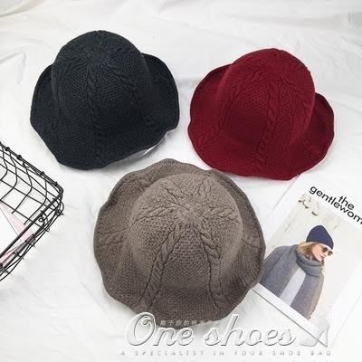 新品針織麻花漁夫帽日繫鐵絲帽檐造型帽復古純色百搭毛線盆帽