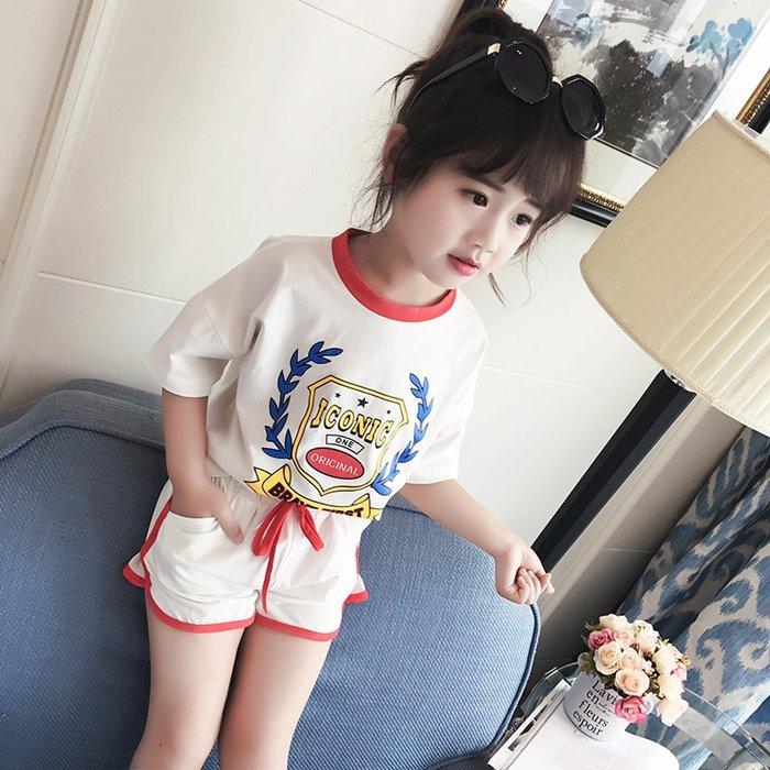 童裝女童套裝兒童夏裝2019新款韓版潮衣女寶寶短袖t恤時尚兩件套