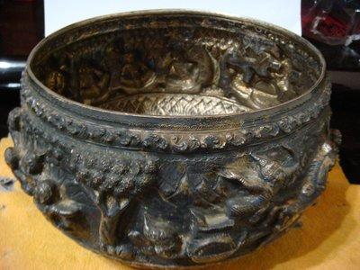 尼泊爾手工精雕純銀聚寶盆