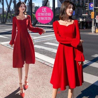 秋冬新款名媛甜美氣質優雅復古修身顯瘦連衣裙紅色年會小禮服洋裝   全館免運