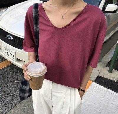 YOHO 短袖上衣 (NTF125) 韓國訂單實拍寬鬆百搭純色V領T恤
