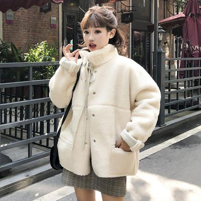 [Margot]冬季韓版復古BF風寬松兩面穿加厚仿羊羔毛夾克棉衣棉服外套學生女