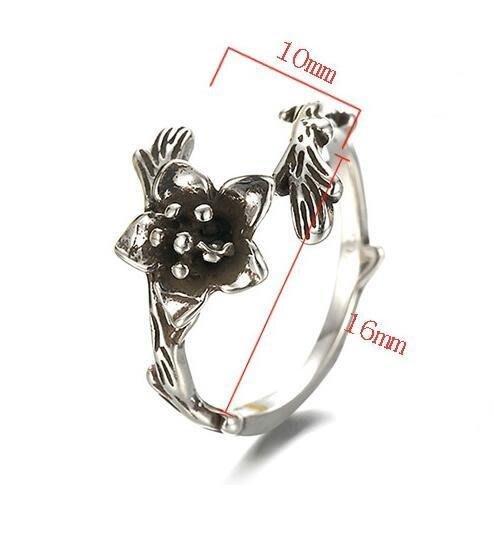 日韓時尚古銀飾玫瑰花女戒指開口戒指泰銀不過敏