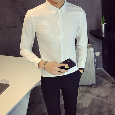【MOZ潮流男装】男衫男衫潮流社會小伙白襯衫韓版修身純色商務王俊凱同款衣服