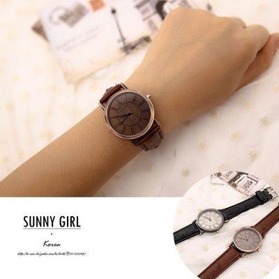***Sunny Girl*** [WT0013] 韓版2015款復古時尚風大錶盤羅馬字型簡約皮帶男中性錶手錶 二色