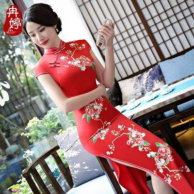 旗袍 改良 修身 顯瘦 氣質 日系 棉麻 復古 絲綢定位印花長款演出走秀連衣裙時尚修身加大碼日常旗袍