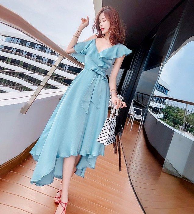 短袖長裙洋裝海洋藍色V領絲亮緞面荷葉邊露肩不規則長裙洋裝許願魔鏡@wishing Mirror-*-TL13150