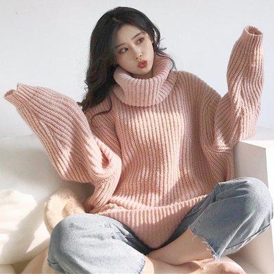 冬新款韓版寬松純色chic慵懶風上衣長袖加厚保暖高領毛衣女