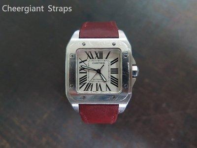 卡地亞山度士100牛皮錶帶巧將手工錶帶Cartier santos 100 Burgundy leather strap