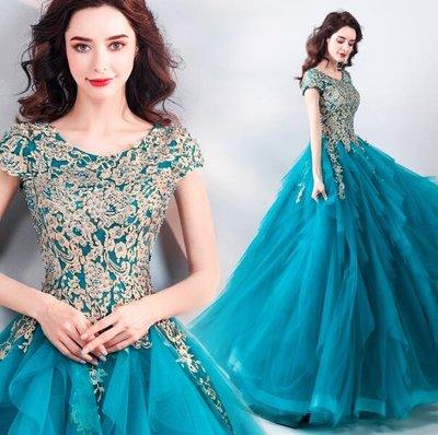 婚禮洋裝 婚紗 奢華孔雀藍晚宴年會演出服 主持人藝考婚紗禮服  小禮服 長裙—莎芭