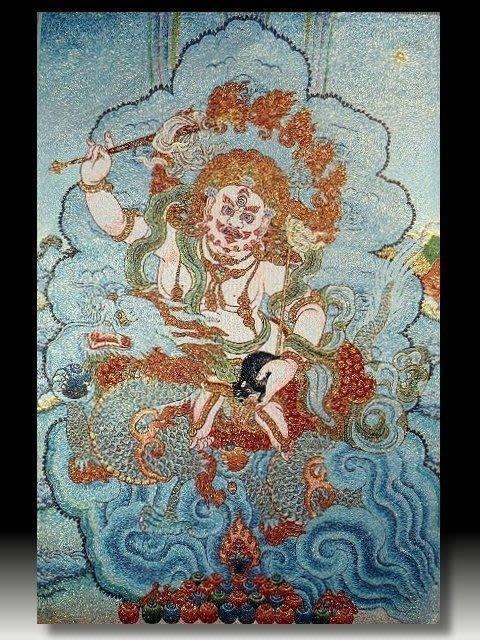 【 金王記拍寶網 】S665 中國西藏藏密佛像刺繡唐卡 黃財神 唐卡一張 完美罕見~