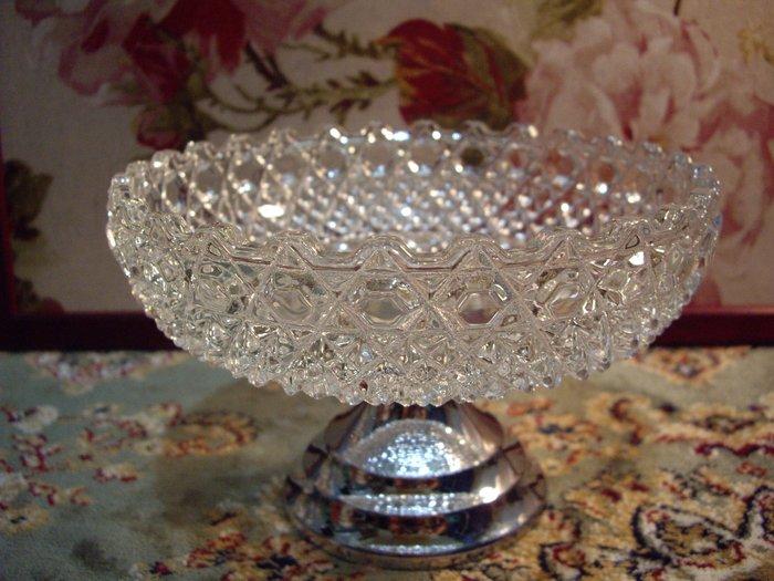 歐洲古物時尚雜貨 高腳玻璃蛋糕盤架 金屬底 擺飾品 古董收藏