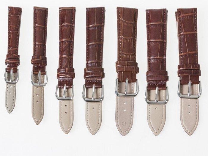 小牛皮鱷魚紋錶帶 真皮針扣手錶帶 – 棕 - 多尺寸可選