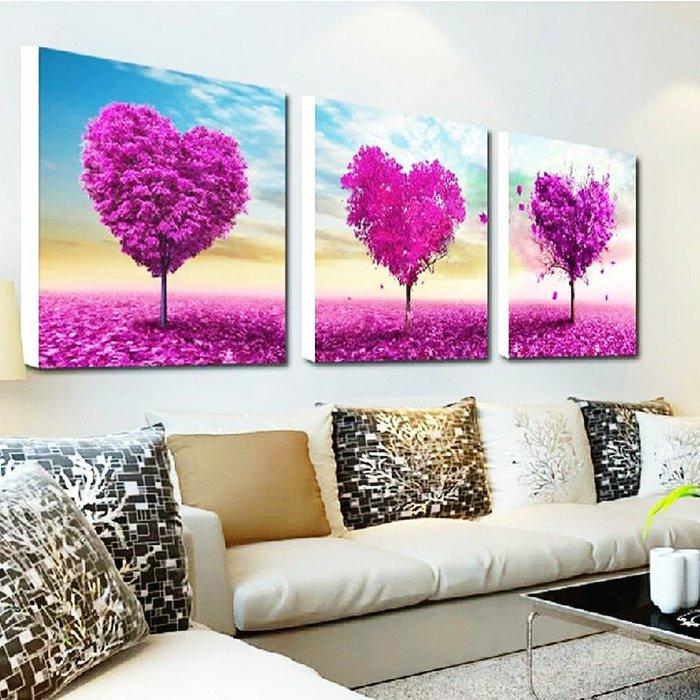 印花 十字繡 愛心樹三聯畫線繡 臥室大幅簡單小幅結婚客廳 鑽石畫