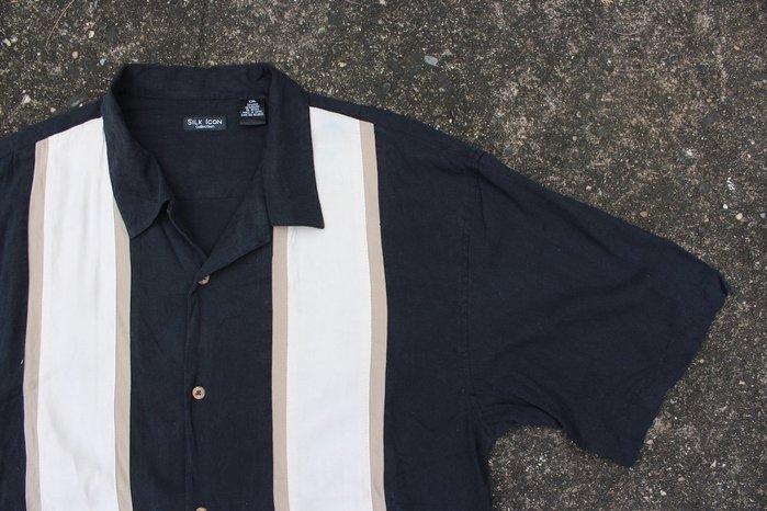 「蔣柒」日本帶回 SILK ICON Vintage 古著 黑色復古襯衫 絲質襯衫 保齡球襯衫 XXL號 現貨 #326
