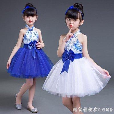 新款兒童青花瓷演出服少兒古箏表演蓬蓬紗裙女童大合唱舞蹈洋裝