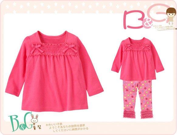 【B& G童裝】正品美國進口GYMBOREESmocked Long Sleeve Top 粉色裙襬型長袖上衣2yrs