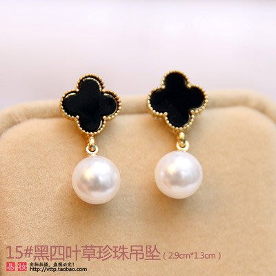 新款飾品韓國甜美耳飾氣質女珍珠耳釘耳環長款日韓版個性簡約黑耳墜小飾品