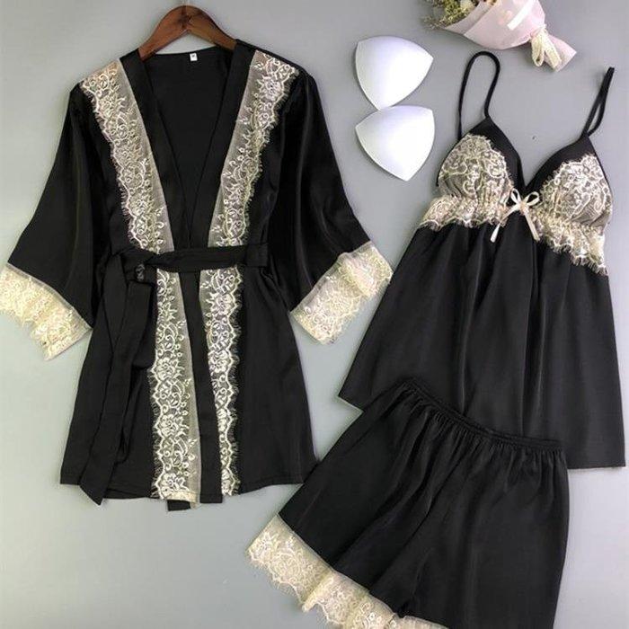 日式睡袍蕾絲邊絲綢睡衣女三件套夏季性感吊帶短褲大碼薄款家居服
